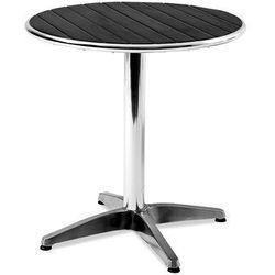 Okrągły stół kawiarniany z tworzywa sztucznego imitujcego drewno + czarne marki Aj