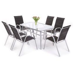 Zestaw mebli aluminiowych toscana alu silver / black 6+1 (882607) - srebrny / czarny marki Home garden