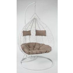 Meblemwm Fotel wiszący ogrodowy 2 osobowy biały poduszki szare
