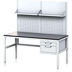 Stół warsztatowy MECHANIC II z panelem perforowanym i półkami, 1600 x 700 x 745-985 mm, 2 kontenery szufladowe, szary/szary