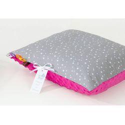 Mamo-tato poduszka minky dwustronna 40x60 mini gwiazdki białe na szarym / fuksja