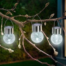 Zestaw 3 lamp solarnych LED Crackle Ball 6 000 K (4260057867773)