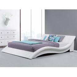 Łóżko wodne 180x200 cm dodatki skórzane białe vichy, marki Beliani