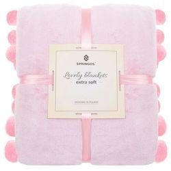 Narzuta na łóżko z dużymi pomponami, pled 200x220 cm dwustronny koc na kanapę różowy (5907719410340)