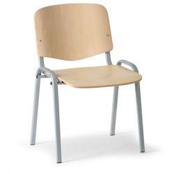 Drewniane krzesło iso, buk, kolor konstrucji szary, nośność 100 kg marki B2b partner