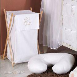 MAMO-TATO Kosz na bieliznę Miś na księżycu w bieli - produkt z kategorii- Kosze na pranie