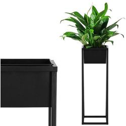 Springos Stojak na kwiaty 80 cm z doniczką nowoczesny kwietnik loft czarny mat