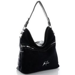 uniwersalne torebki damskie skórzane na co dzień czarne (kolory) marki Velina fabbiano