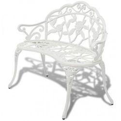 Metalowa ławka ogrodowa Loryn - biała, vidaxl_42167
