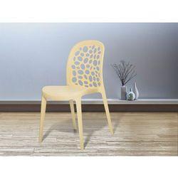 Krzesło ogrodowe beżowe - krzesło plastikowe - krzesło z tworzywa sztucznego - RUBIN (7081456609620)