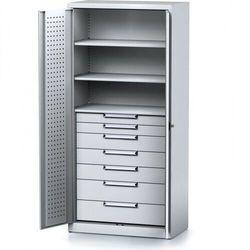 Szafa warsztatowa mechanic, 1950 x 920 x 500 mm, 3 półki, 7 szuflad, szare drzwi marki Alfa 3