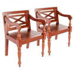 Mahoniowe krzesła na taras amarillo 2 szt - ciemnobrązowe marki Elior