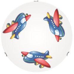 Lampa dla dziecka Samolot - plafon Jet biały/ chrom 60W E27 30cm