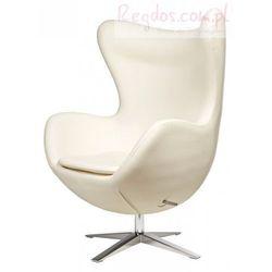 Fotel Jajo szeroki skóra ekologiczna bia ła - produkt z kategorii- Krzesła i stoliki