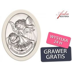 Dewocjonalia - srebrny obrazek na pamiątkę chrztu świetego wyprodukowany przez Valenti & co