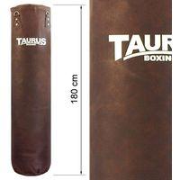 Worek bokserski Taurus Pro Luxury 180cm, Boxsack Pro Luxury braun, mit Kette und Drehwirbel, Aufdruck Taurus-B