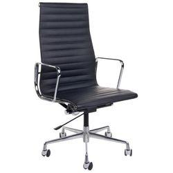 Fotel biurowy ch inspirowany ea119 skóra, chrom - czarny marki D2.design