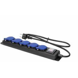 Przedłużacz warsztatowy bryzgoszczelny z wyłącznikiem, 5 gniazd 2P+Z, IP44, przewód gumowy, H05RR-F 3x1,5mm2, długOR-AE-13159/5M (5900378655510)