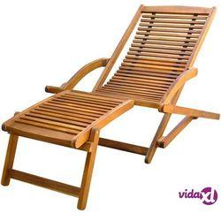 Vidaxl leżak tarasowy z podnóżkiem, lite drewno akacjowe (8718475960911)