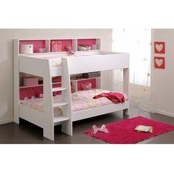 Łóżko piętrowe lenny – 2 x 90 × 200 cm – półki – dwustronne tło różowo-niebieskie marki Vente-unique