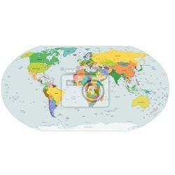 Naklejka Globalna mapa polityczna świata, wektor, myloview