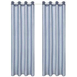 Tkane zasłony w paski, 2 szt., 140 x 225 cm, stalowo-szare marki Vidaxl