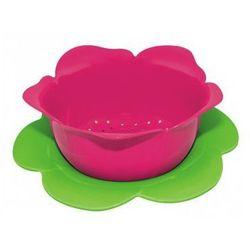 Brak Zak! - durszlak z podstawką mały, różowo - zielony