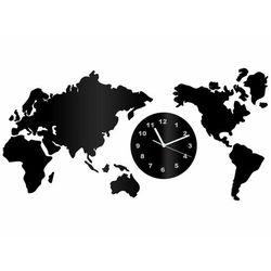 Congee.pl Zegar z pleksi na ścianę mapa świata z białymi wskazówkami
