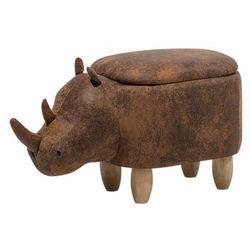 Beliani Pufa imitacja skóry jasnobrązowa rhino (4260602376149)