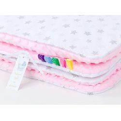 kocyk minky dla dzieci 100x135 gwiazdki bąbelkowe szare / jasny róż marki Mamo-tato