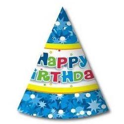 Godan Czapeczki papierowe happy birthday niebieskie - 6 szt.