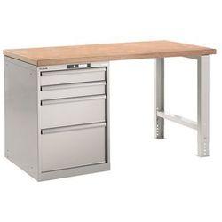 Stół roboczy kompletny, blat roboczy z multipleksu bukowego, wys. 840 mm, szafka marki Lista