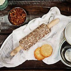 Mygiftdna Damask - mini grawerowany wałek do ciasta - wałek 23cm