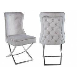 Meblin Krzesło tapicerowane y-2009 jasnoszary welur / srebrne nogi