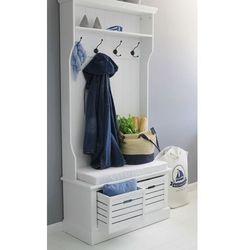 Garderoba z serii provance, matowa biel, dwie skrzynki, siedzisko z poduszką. marki Design by impresje24