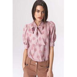 Różowa romantyczna wzorzysta bluzka z wiązaną szarfą, 1 rozmiar