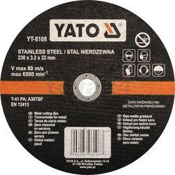 Tarcza do cięcia stali nierdzewnej 230x3,2x22 mm / YT-6108 / YATO - ZYSKAJ RABAT 30 ZŁ