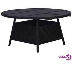 Vidaxl stół ogrodowy, czarny, 150 x 74 cm, rattan pe