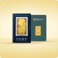 20 g sztabka złota certicard marki Perth mint, pamp suisse