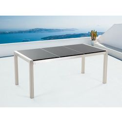 Stół czarny polerowany 180cm - kamienny blat - dzielona płyta - GROSSETO - produkt z kategorii- Stoły ogrodowe