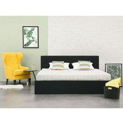 Łóżko czarne - 180x200 cm - ze skrzynią na pościel - LORIENT