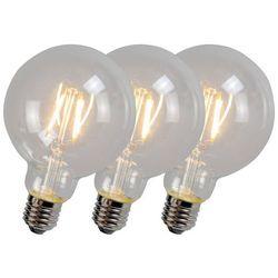 Zestaw 3 żarówek LED z żarnikiem G95 4W 2700K przezroczyste