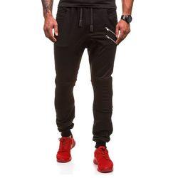 Czarne spodnie dresowe baggy męskie Denley 0476 - CZARNY, kolor czarny