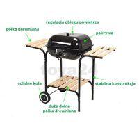 Grill ogrodowy węglowy z pokrywą i drewnianymi półkami, 40x45cm / 99581 /  - zyskaj rabat 30 zł marki Toy
