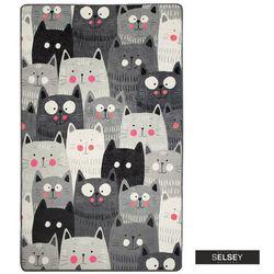 dywan do pokoju dziecięcego dinkley koty szary 100x160 cm marki Selsey