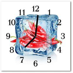 Zegar szklany kwadratowy Papryczka Chili z lodem