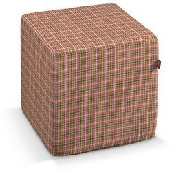 Dekoria pufa kostka twarda, mała różowo-zielona krateczka, 40x40x40 cm, bristol