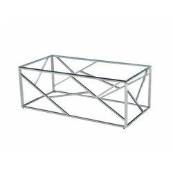 Stolik kawowy metalowy chrom + szkło cs-05 120x60 cm marki Meblemwm