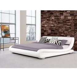 Łóżko białe - 160x200 cm - łóżko skórzane - ze stelażem - AVIGNON