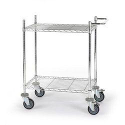 Wózek stołowy z kraty drucianej, chromowany,z 2 piętrami